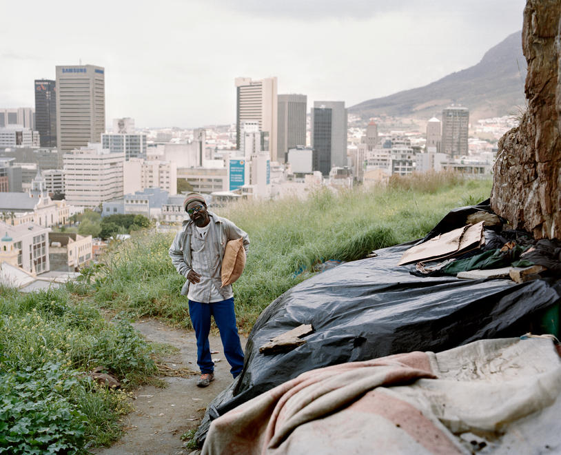 Zed Nelson, Issac Vallance, 40. Homeless, lives in makeshift shelter, Cape Town